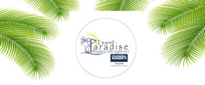 Team Paradise image of circle of logo with palm fronds around border