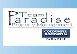 Blue border team paradise property management coldwell banker paradise logo